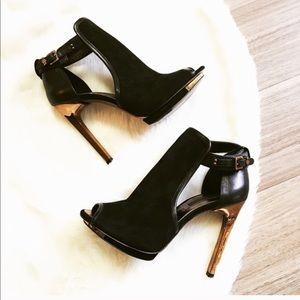 BCBG MAXAZRIA Suede bootie heels